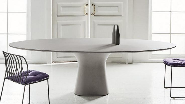 Beton tafel ovaal concrete for Tafel ovaal