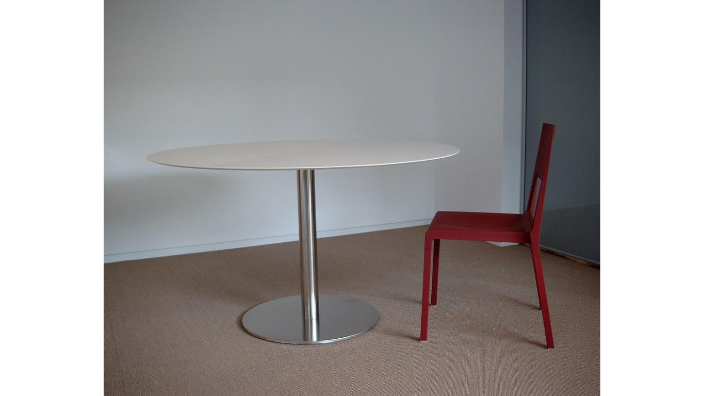 Ronde tafel wit volkernblad pure white art 76.r000